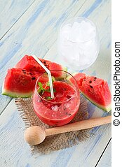 smoothie, glas, ijs, meloen