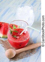 smoothie, glas, kruid, stuk, meloen