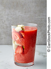smoothie, glas, rood