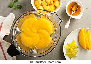 smoothie, gyártás, fagyasztott, mangó