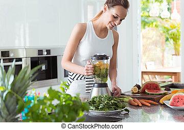 smoothie, gyártás, mosolyog woman, vegan