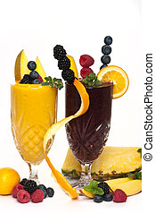 Smoothie - Healthy fruit drink made with berries, mango, ...