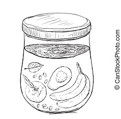 Smoothie in the jar.