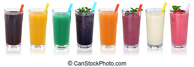 smoothie, isolé, jus, fruit, fruits, smoothies, boissons, rang