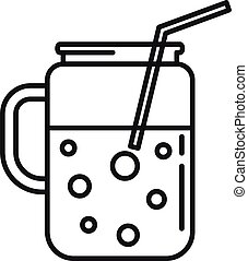 Smoothie jar icon, outline style
