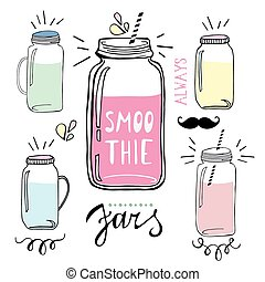 Smoothie jars set. Hand drawn sketch illustration.