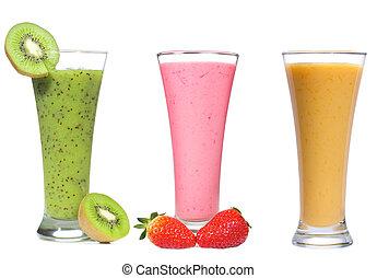 smoothie, különböző, bogyók, gyümölcs