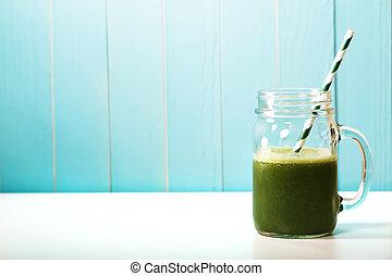 smoothie, kőműves, bögre, nulla, szalmaszál, dolgozat, zöld