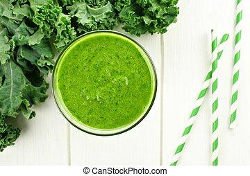 smoothie, kelkáposzta, pohár, erdő, zöld, felső, fehér, kilátás