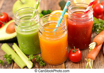 smoothie, legumes, frutas