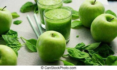 smoothie, lunettes, vert, ingrédients