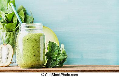 smoothie, mélangé, pot, verre, fruit, vert, fraîchement, ...