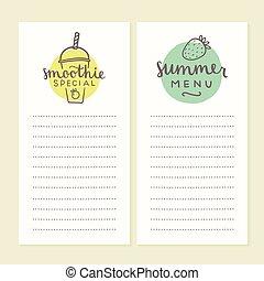 Smoothie menu templates.