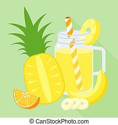 smoothie mixed fruit blend in mason jar, orange, banana, pineapple, flat design vector