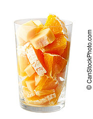 smoothie, pohár, gyümölcs, gyártás, darabok