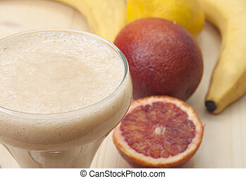 smoothie, pomarańcza, banan, lemon., zachwycający