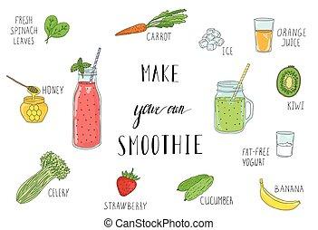 smoothie, rezept, detox, gesunde, eating., flasche, ingredients.