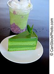 smoothie, thee, laag, groene, taart