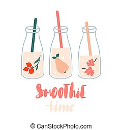 Smoothie time. Set of smoothies or fresh juice in jars with fruits