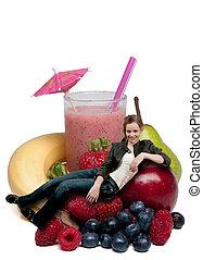 smoothie, tizenéves, nő, gyümölcs