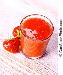 smoothie, verre, baies, deux, fraise