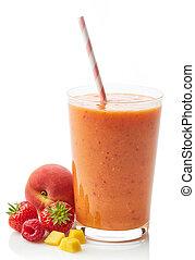 smoothie, vidro, fruta, baga
