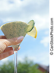 smoothie, vrouwenhand, glas, groene, vasthouden