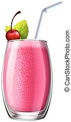 Smoothie with fresh cherry in glass