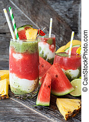 Smoothie with fruits and yogurt