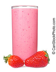 smoothie with strawberry on white background