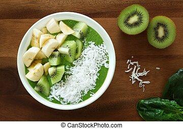 smoothie, zöld, tál