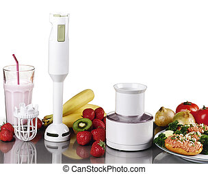 Smoothie,fresh fruits, milk shake with small electric blender