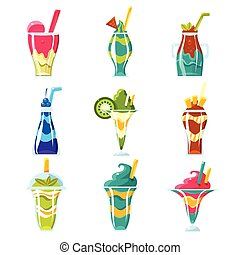 Smoothies And Sweet Multilayered Cocktails Set Of Bright Color Glossy Icons, Cute Vector Clipart Objects On White Background