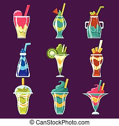 Smoothies And Sweet Multilayered Cocktails Collection Of Bright Color Glossy Icons, Cute Vector Clipart Objects