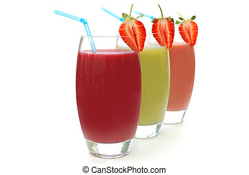 Different flavoured fruit smoothies