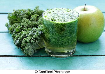 smoothies, från, grön, organisk, kål, kål, och, äpple, -, frisk mat