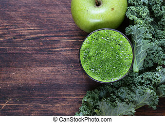 smoothies from green organic kale cabbage and apple - healthy food