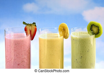 smoothies, fruta, sortido