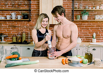 smoothies, il, heureux, aides, stand, mélange, girl, homme, ...