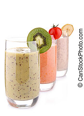 smoothies, isolé, blanc