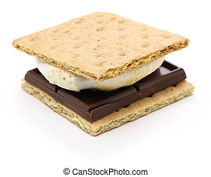 smore is a campfire treat popular in the United States and Canada. a toasted marshmallow and a chocolate sandwiched between two pieces of graham cracker.