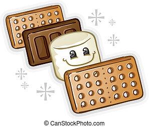 smores, caricatura, marshmallow
