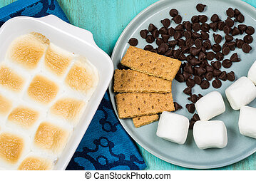 S'mores dip. - Close up of fresh cooked s'mores dip in...