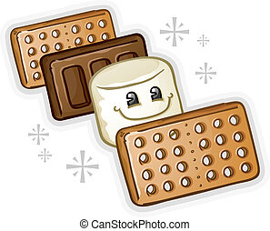 Smores Marshmallow Cartoon - A smores sandwich open showing...