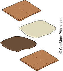 Smores Parts - Make your own smores cartoon on isolated...