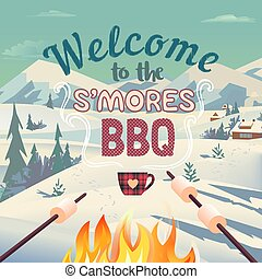 S'mores winter BBQ welcome vector poster