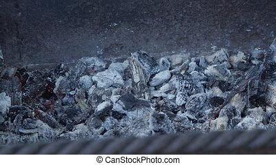 Smouldering embers close-up. From them comes a small smoke and flies ash. A slight red flicker is visible.