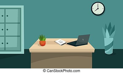 Smpty office space interior with furniture and laptop. Flat style. Vector illustration