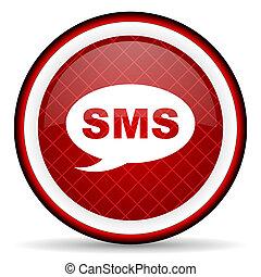 sms, グロッシー, 背景, 白い赤, アイコン