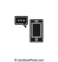 sms, モビール, テキスト, -, ベクトル, コミュニケーション, メッセージ, アイコン